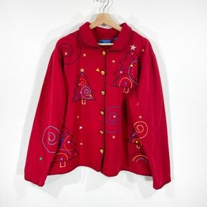 90s Embroidered Christmas Tree Cardigan Red Sz 1X
